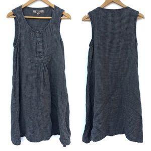Flax Plaid Linen Oversized Sleeveless Tunic Dress